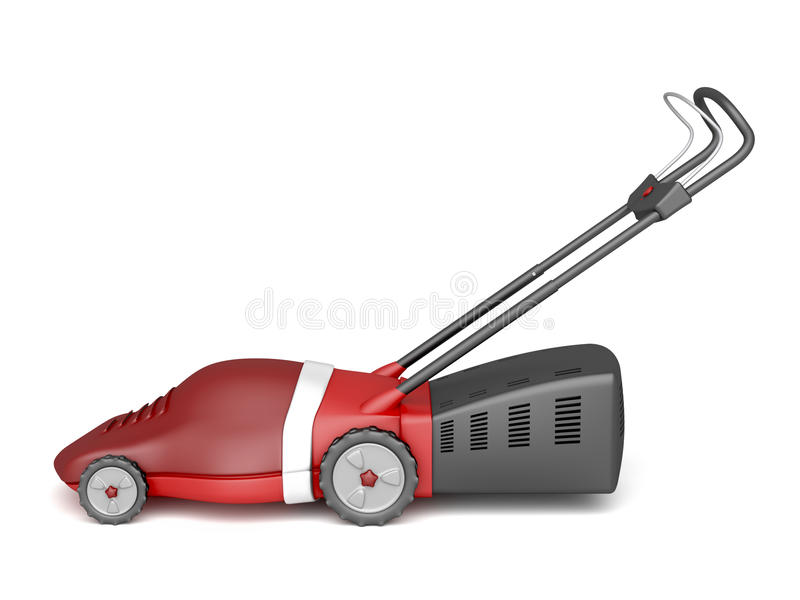 Red lawn mower stock illustration