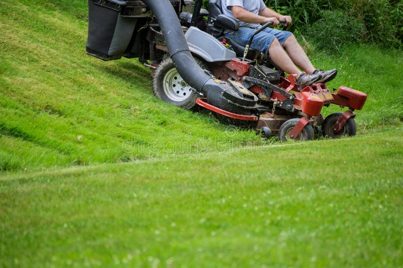 Red Lawn mower cutting grass. Gardening process of lawn mowing royalty free stock image