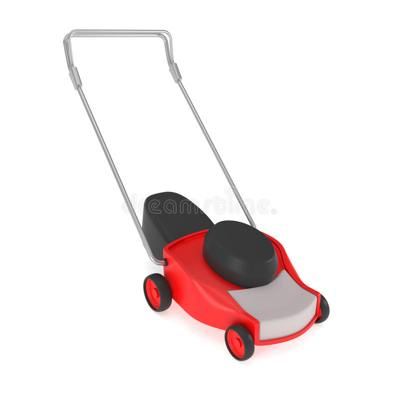 Red Lawn Mower with Grass Catcher isolated on white. 3d illustration stock illustration