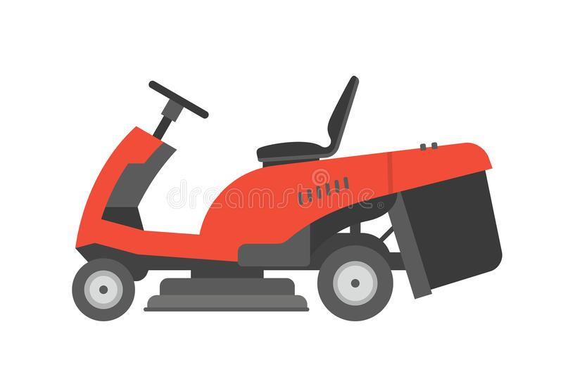 Red lawnmower vector illustration