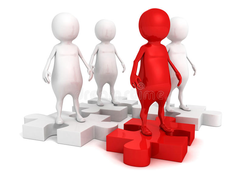 Red leader man on team group on jigsaw puzzle royalty free illustration