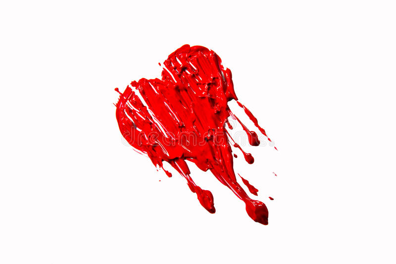 Red Leaking Color Painted Heart Stock Photo