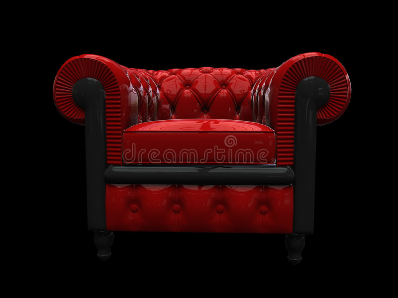 Red leather armchair front view vector illustration