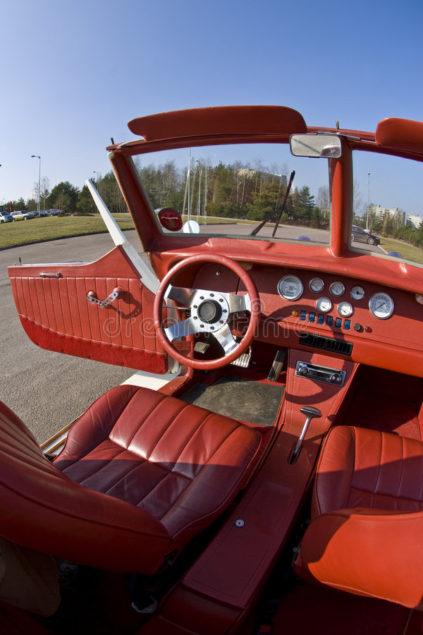 Red leather auto interior stock photo