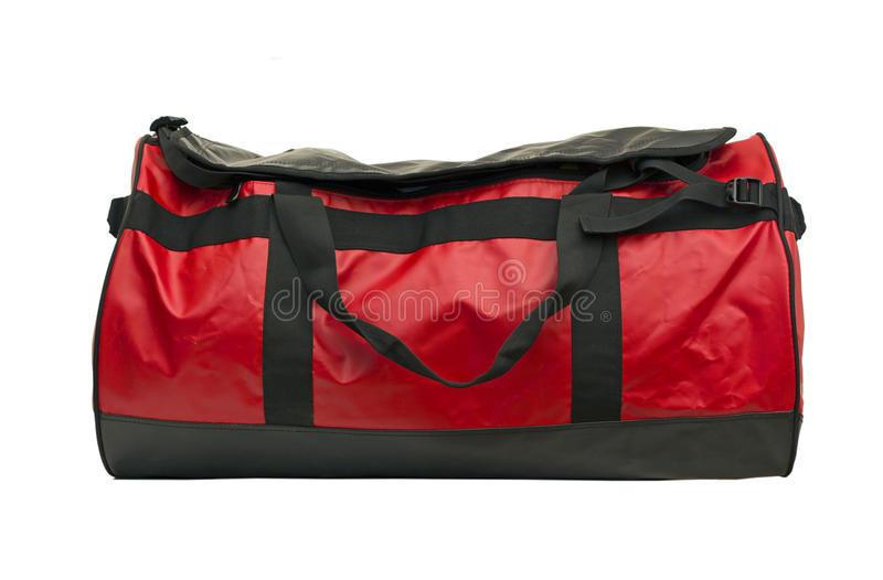 Red leather bag stock image