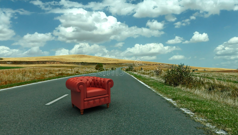Red Leather Club Armchair On The Road Stock Photos