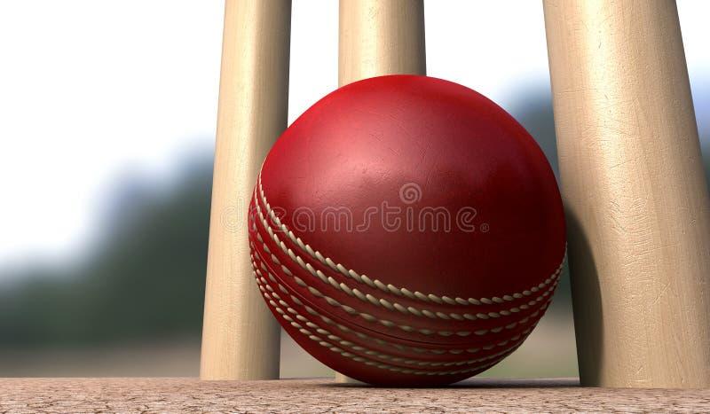 Cricket Ball At Base Of Wickets royalty free stock photos