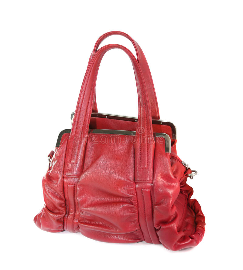 Download Red leather handbag stock image. Image of white, lady - 14020729