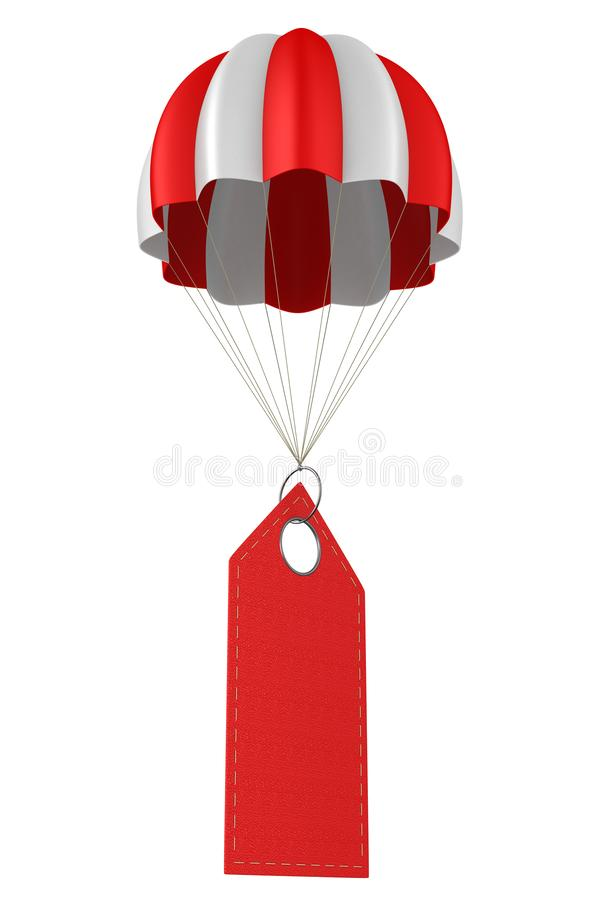 Red leather label and parachute on white background. Isolated 3D illustration.  vector illustration