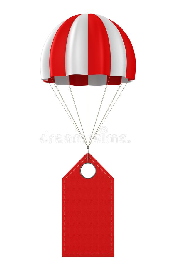Red leather label and parachute on white background. Isolated 3D illustration.  stock illustration