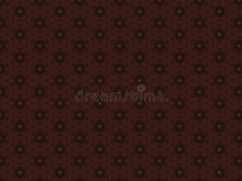 Red leather material for trim furniture with openwork pattern with yellow buttons in the shape of a star.  stock photography