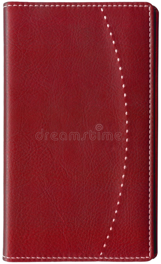Red leather memo book isolated on white royalty free stock photo