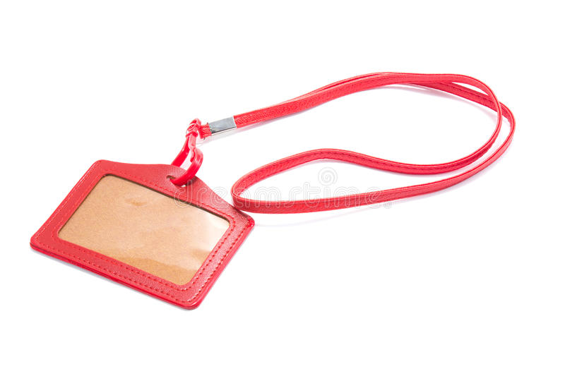 Red Leather Name Tag royalty free stock image