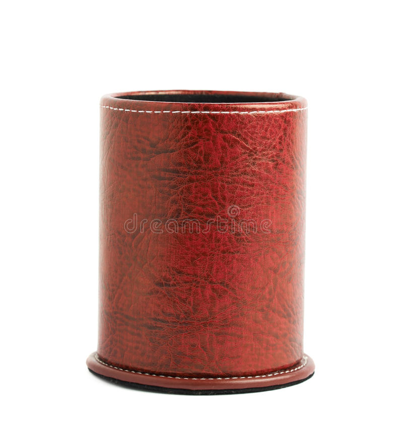 Red leather pen holder cylinder. Box isolated over the white background royalty free stock images