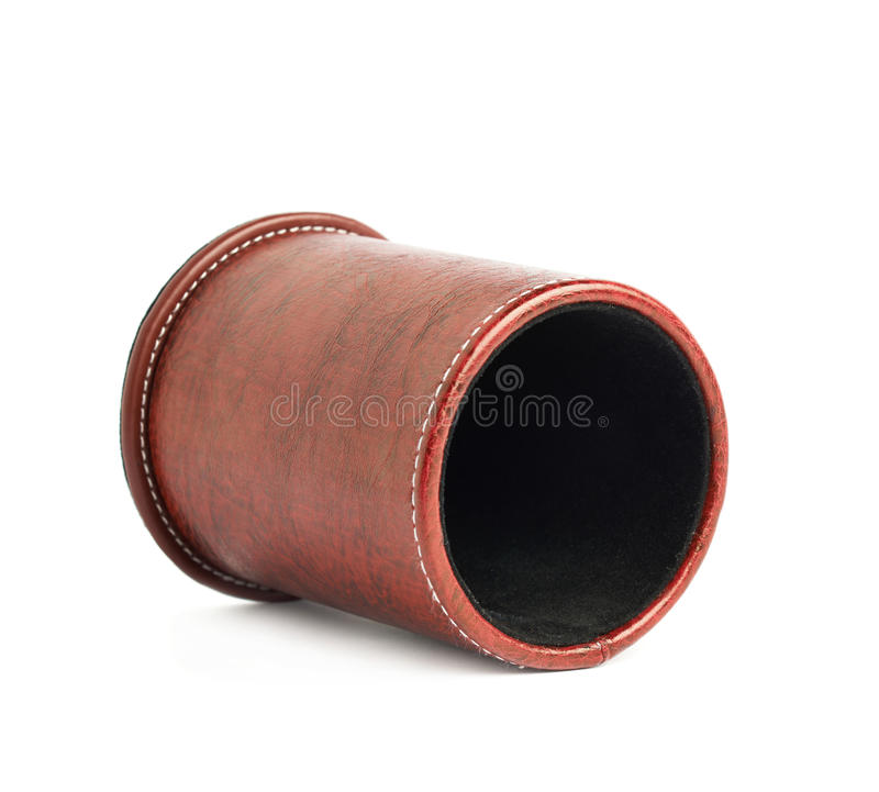 Red leather pen holder cylinder. Box isolated over the white background stock photography