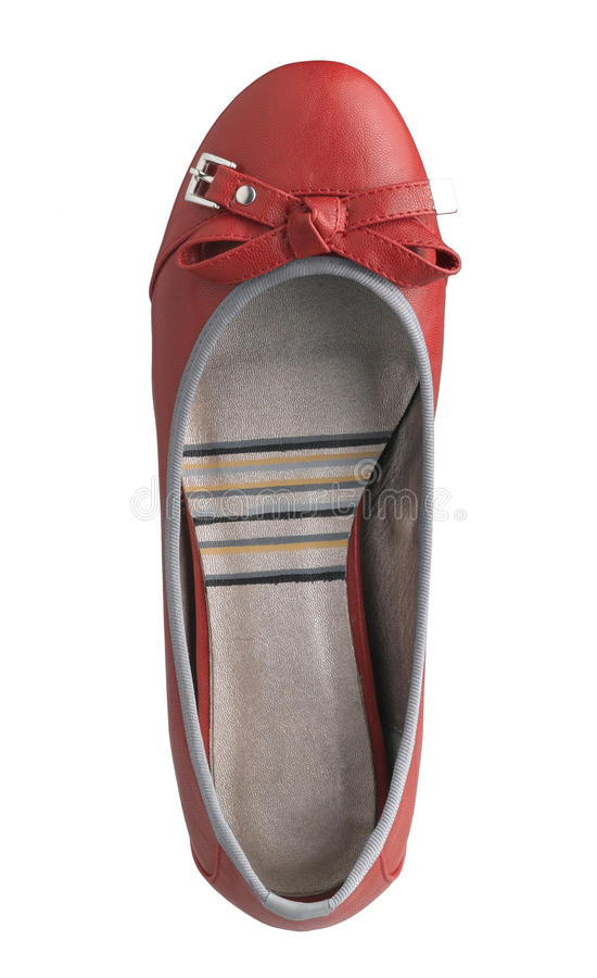 Red leather shoe stock image