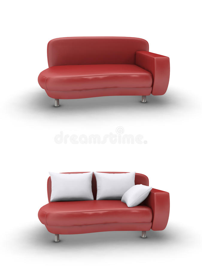 Red leather sofa royalty free illustration