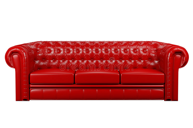 Red leather sofa 3d royalty free illustration