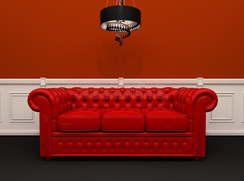 download red leather sofa with chandelier interior royalty free stock photography image