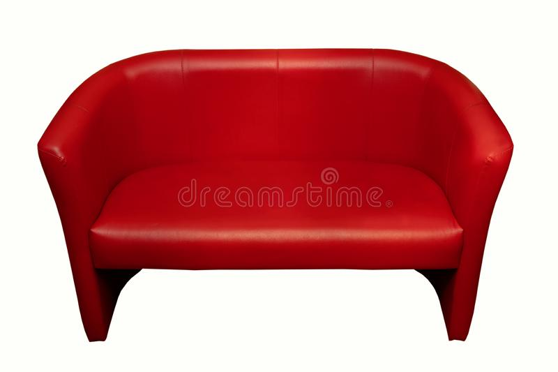 Red leather sofa, office furniture, isolate royalty free stock images