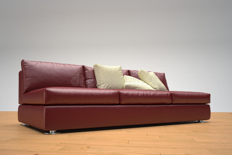 Red leather sofa. On wooden foor and white background vector illustration