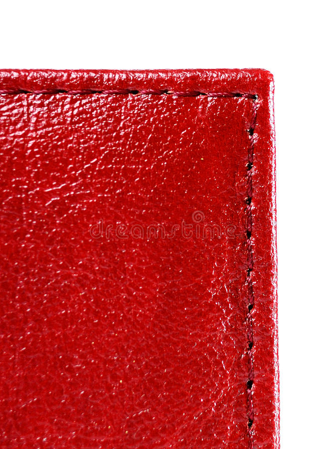 Red leather with stitch