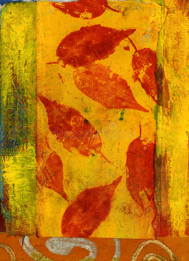 Red Leaves. Mix media art. Red leaves on yellow