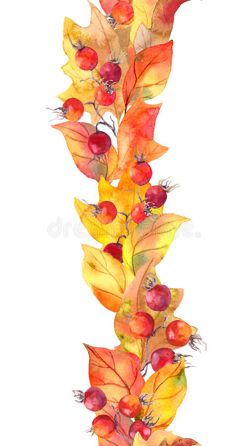 Seamless Autumn Border Watercolor Stripe Stock Illustration