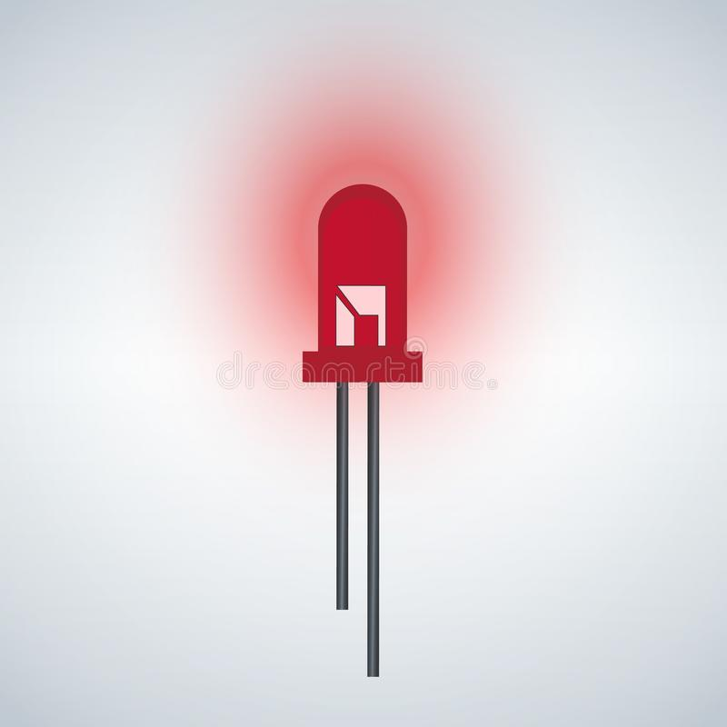 Red LED Diode icon. Isolated on white background stock illustration