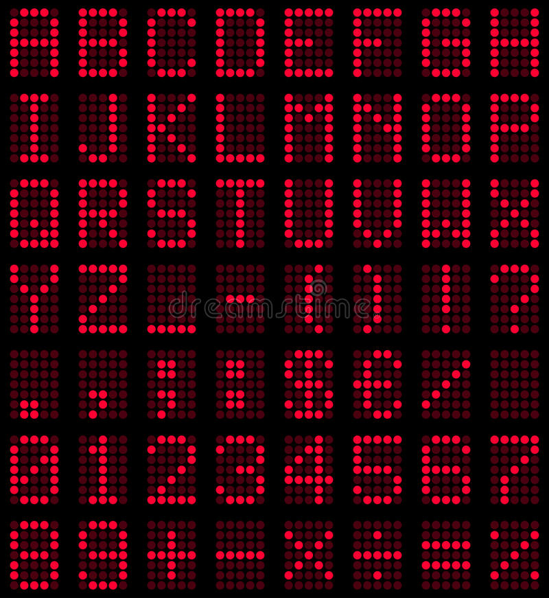 Red LED Display Font. With letters, punctuation marks and numbers, on black background. Eps file available royalty free illustration