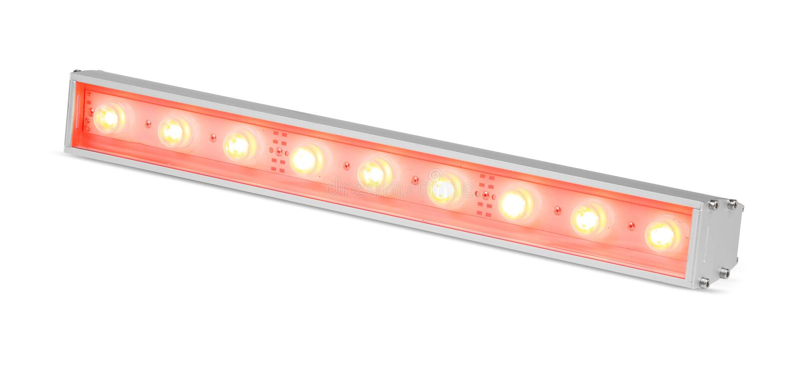 Red LED flood light outdoor projector lamp isolated on white background royalty free stock image