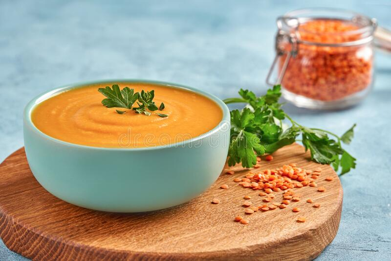 Red lentil soup. Traditional middle eastern, turkish , ramadan cuisine. Vegan food. Red lentil soup. Traditional middle eastern, turkish , ramadan cuisine royalty free stock image