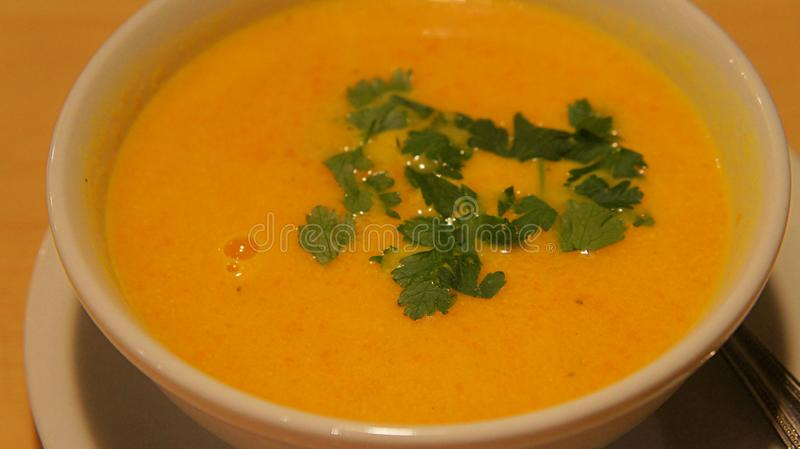 Red lentil soup, yellow stock photography