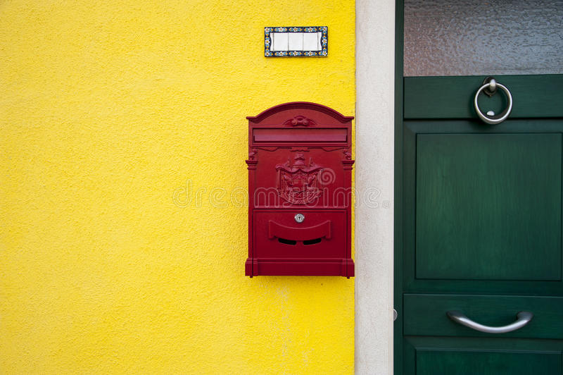 Door with red letterbox royalty free stock images