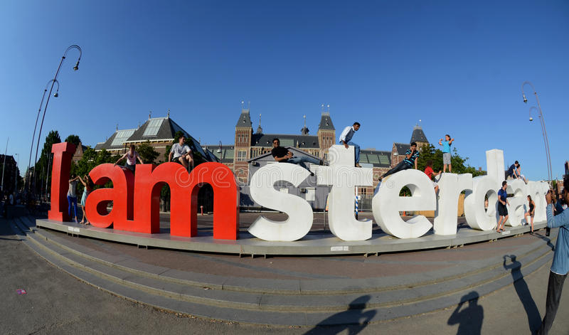 Download Red Letters In The Park In Centre Of Amsterdam Editorial Photography - Image of clouds, blue: 28574932