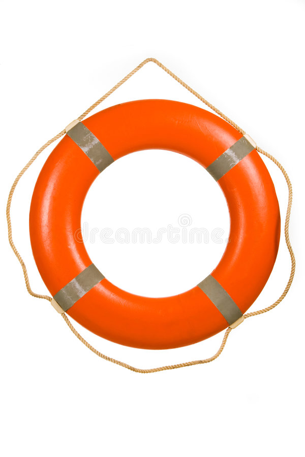 Red life buoy. Hung on invisible pin isolated over white royalty free stock photos