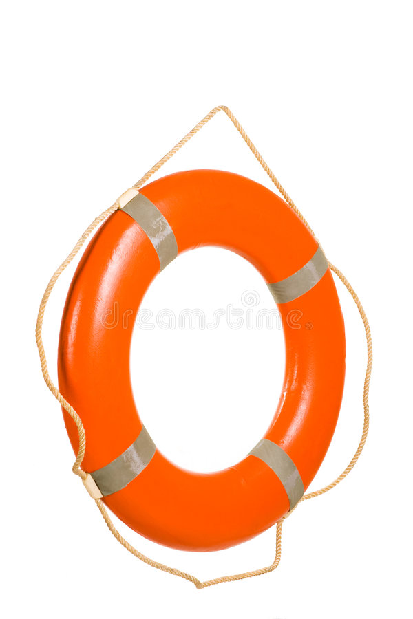 Red life buoy. Hung on invisible pin isolated over white stock image