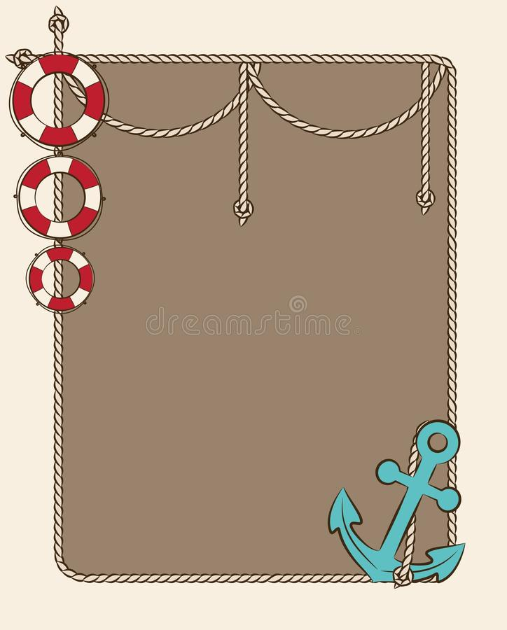 Red life buoy and anchor royalty free illustration