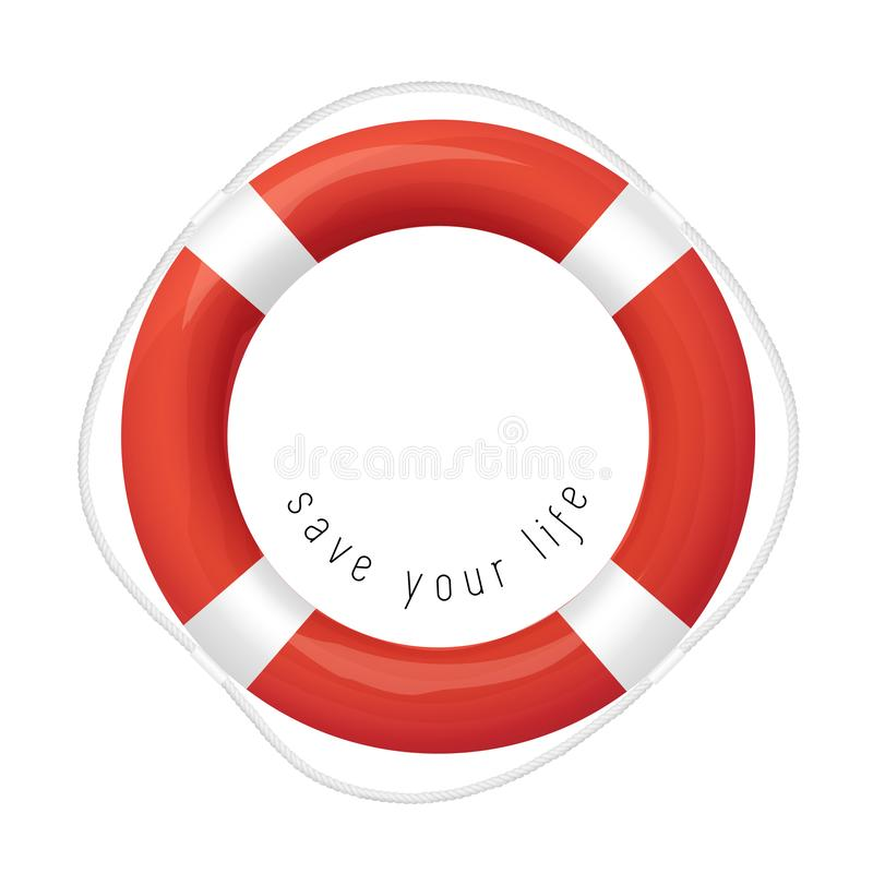 Red Life Buoy, Isolated On White Background vector illustration