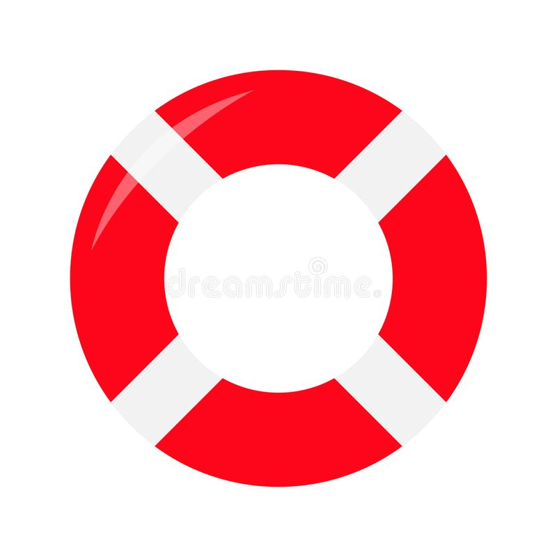 Red lifebuoy ring icon. Life buoy round circle for safety at sea ocean water. Flat deisgn. White background. Isolated. stock illustration