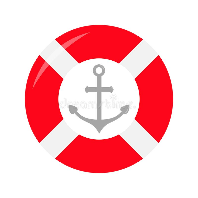 Red lifebuoy ring Ship anchor icon. Life buoy round circle for safety at sea ocean water. Nautical sign symbol. Flat deisgn. White stock illustration