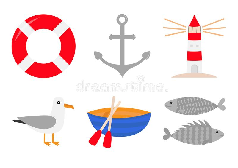 Red lifebuoy ring. Ship anchor lighthouse boat albatross bird fish icon set. Life buoy round circle for safety at sea ocean water. Nautical sign symbol. Flat royalty free illustration