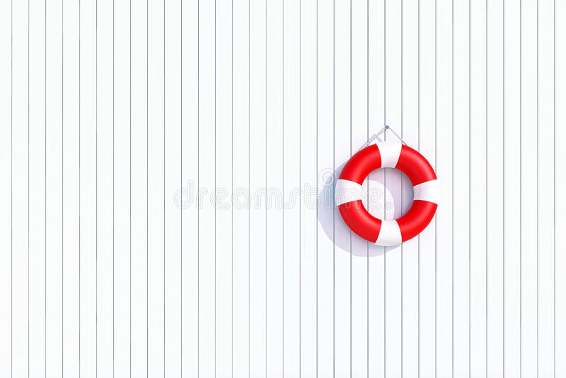Red lifebuoy on a white wooden plank wall, summer concept, background stock illustration
