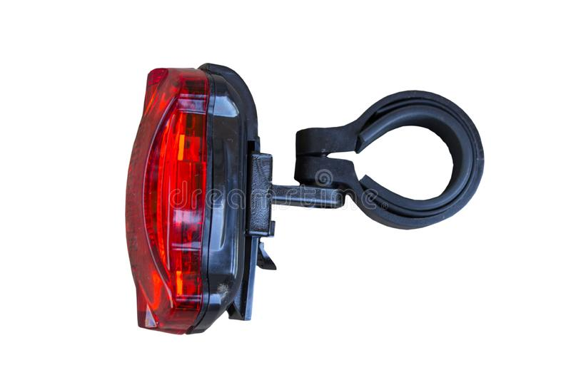 Red light for bike.Bike Lights isolated red background. Bike Lights isolated red background royalty free stock photos