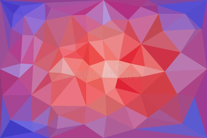 Red, light red and blue triangular pattern - triangles mosaic. Vector illustration vector illustration