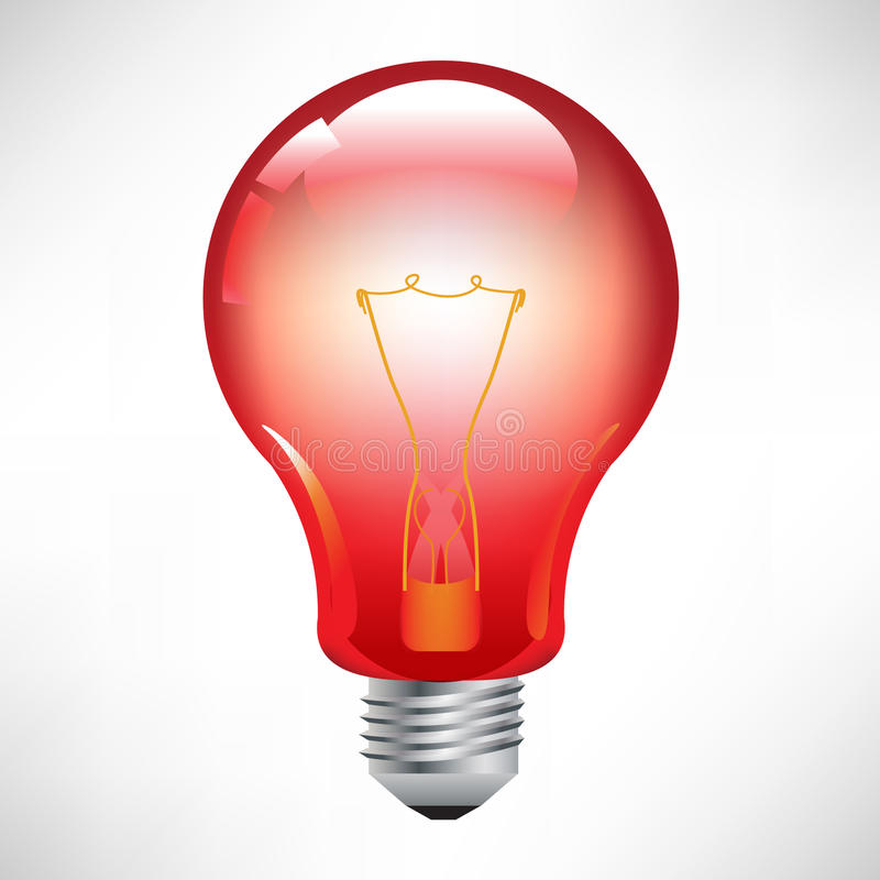 Red light bulb royalty free illustration