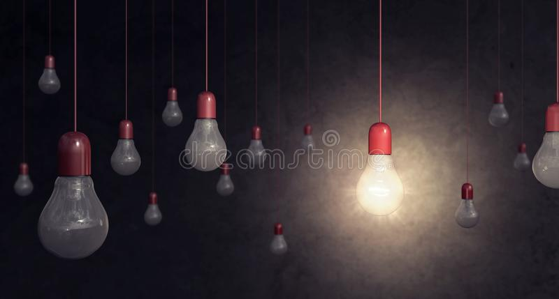 Red light bulb on dark background idea concept. 3D Rendering vector illustration