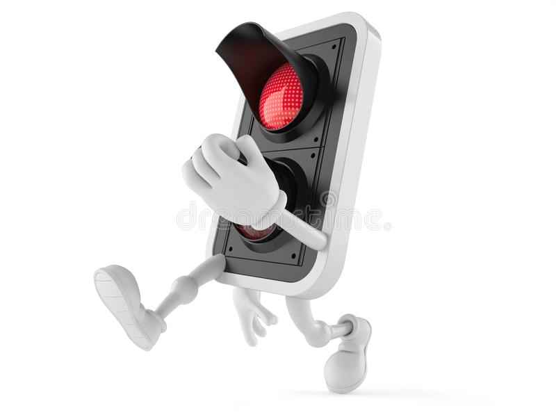 Red light character running. On white background vector illustration