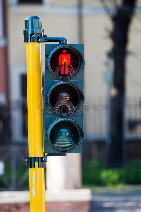 Free Red Light Crosswalk. Stop Pedestrian. Rome Italy Royalty Free Stock Images - 68118519