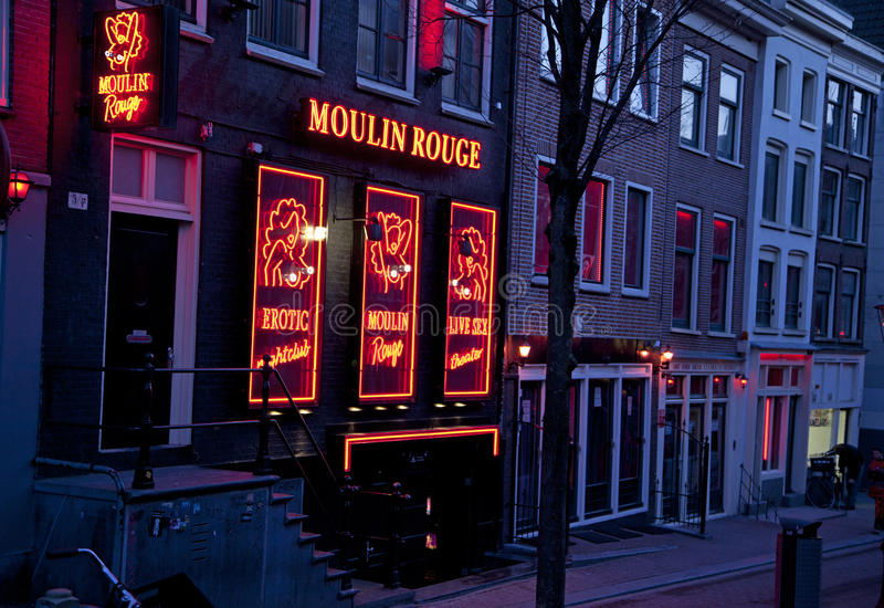 Red light district in Amsterdam stock photo